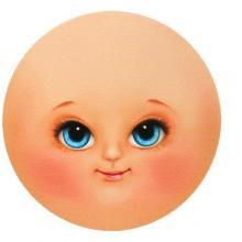 Фоамиран с принтом Кукольное лицо Renkalik 95мм, 2шт