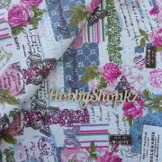 Ткань ЛЁН №22 Пэчворк с бабочками и розами 50х50