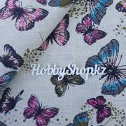 Ткань ЛЁН №19 Большие бабочки 50х50