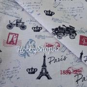 Ткань ЛЁН №04 Эйфелева башня и марками 50х50