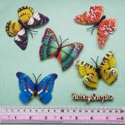 Бабочки декоративные 3D с блеском 7см (5шт)