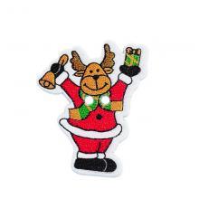 Деревянная пуговица Дед мороз Олень