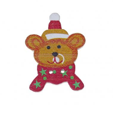 Деревянная пуговица Мишка с шарфом