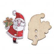 Деревянная пуговица Дед мороз с подарком
