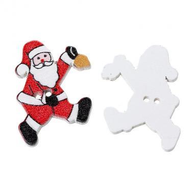 Деревянная пуговица Санта Клаус