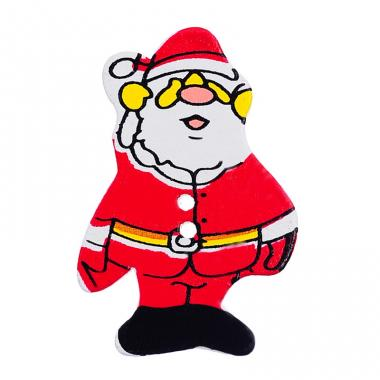 Деревянная пуговица Дед Мороз