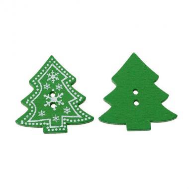 Деревянная пуговица Ёлка со снежинками